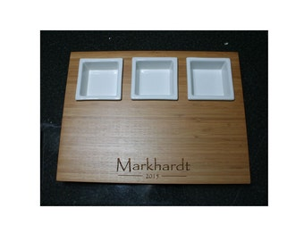 Personalized Bamboo Serving Tray w / 3 Ceramic Bowls -  Shower, Wedding Anniversary, Housewarming Gifts - Perfect for Entertaining