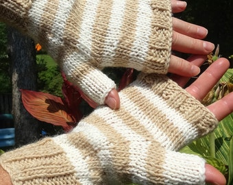 Fingerless Gloves Men's Handknit Tan and White Striped Merino Wool & Mohair Fingerless Gloves Striped Handwarmers Men's Fingerless Gloves