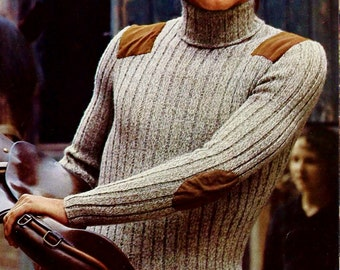 Men's Turtleneck Pullover with Suede Shoulder and Elbow Patches Vintage Knitting Pattern Instant Download