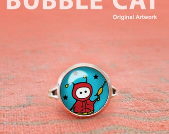 Cute Alien with Raygun Ring, Alien Adjustable Ring, Glass Dome Ring, Statement Ring