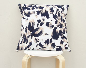 Brush stroke pillow cover , Dark Navy pillow Case