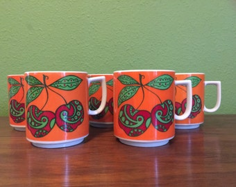 Vintage Mid Century Modern Ceramic Mugs, One Set of 5, Retro Coffee Cups.
