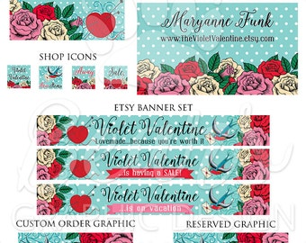 Etsy Cover Photo Set, Custom Shop Banners, Etsy Shop Graphics, Etsy Shop Branding Package, Store Banner, Shop Banner Sewing, Shop Banner Kit