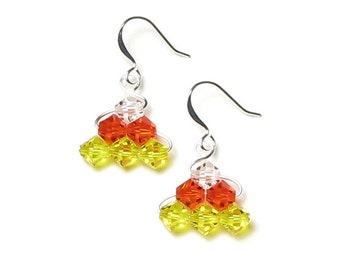 Candy Corn Earrings Silver Dange Czech Glass Crystal Yellow Orange Clear Girl's Fall Halloween Candy Jewelry Back To School Gift For Teacher