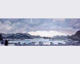 Panorama painting of Lyttelton NZ, original landscape painting, canvas art, New Zealand artist, harbour view, ocean art, free shipping