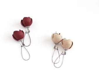 Modern style leather earrings in dark red wine or sand beige
