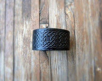Mens Leather Cuff Bracelet-Celtic Cuff-Men's Cuff-Medieval Cuff-Irish Leather-Celtic Knot-Tooled Leather-Black-Him-Custom Made in 7 Colors