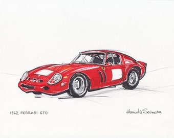 Classic Car Drawing  Antique Car Print Retro Illustration Old Automobile Sketch Wall Art Red  Ferrari GTO Auto Poster Painting Gift For Men