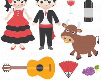 Spain vector - Digital Clipart - Instant Download - EPS, Pdf and PNG files included