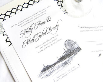 Santa Monica Pier Skyline Hand Drawn Wedding Invitations Package (Sold in Sets of 10 Invitations, RSVP Cards + Envelopes)