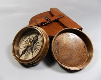 "2.3"" Antique Vintage Style Brass Stanley London Pocket Compass boussole Campaigning Hiking W Leather Case Pouch,Sale"