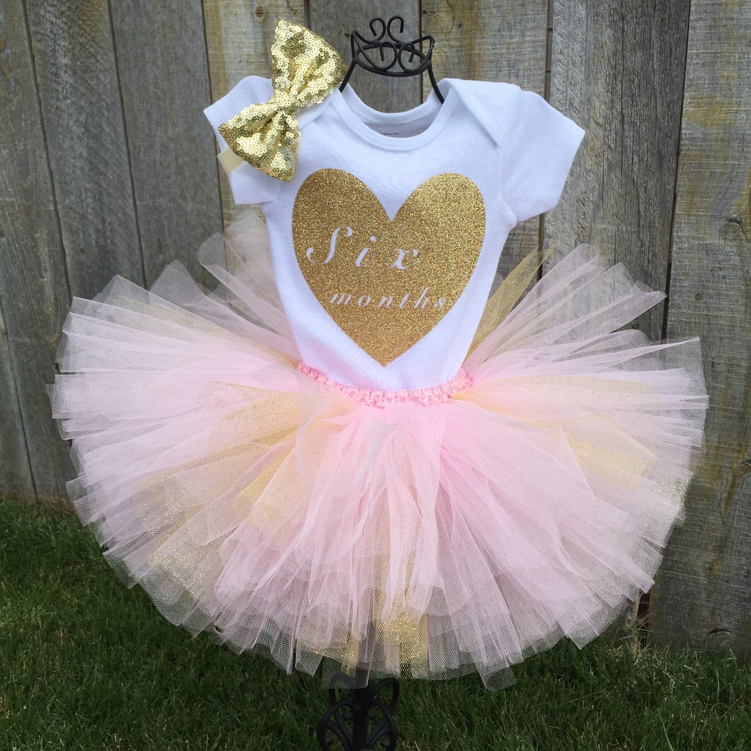Tutus Tutu: 6 Month Pink & Gold Tutu Bodysuit Set Half Birthday Bodysuit