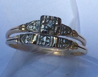 Vintage two-tone diamond engagement set made by Lifetime