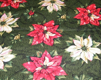 44 Inches Christmas Xmas TIS the SEASON Poinsettia Print 100% Cotton Quilt Craft Fabric by the PIECE