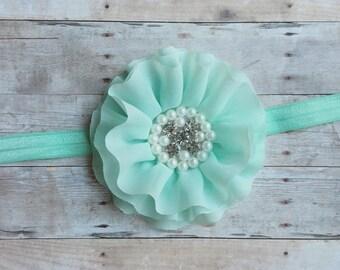 Mint Flower Baby Headband