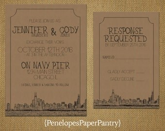 Chicago Destination Wedding Invitations,Vintage Skyline,Kraft Paper,Cityscape Sketch,Opt RSVP, Customizable,With Kraft Envelopes