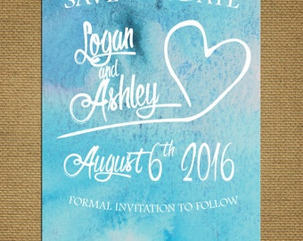 Fun Spring Save The Date Card, Ocean Blue Watercolor Design, Heart, , Unique, Bright , Customizable & Includes White Envelopes