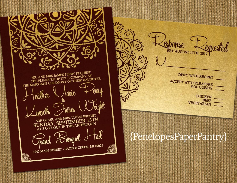 burgundy invitation burgundy wedding invitations Burgundy and Gold Wedding Invitation India Inspired Elegant Medallion Burgundy Gold Shimmery Customize Printed Invitation Optional RSVP Card