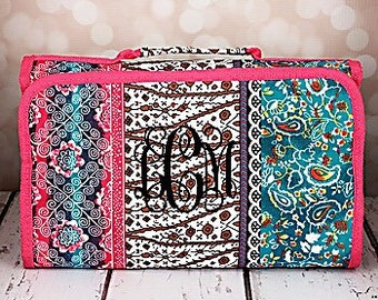 Monogrammed roll up cosmetic bag