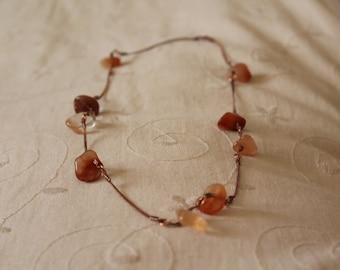 Necklace agate egrainement