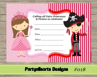 DIY - FILL IN Yourself Fairy Princess and Pirate Invitation