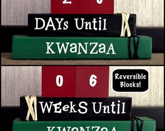 KWANZAA REVERSIBLE COUNTDOWN wood blocks stacking block set personalized gift home and holiday decor seasonal decor...
