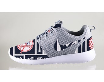 New Nike Roshe Run Custom New York Yankees Or Any Other Team Red White Blue MLB Edition Mens Shoes Sizes 8 - 13