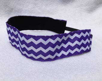 Purple Chevron Headband- Sport Headband- Purple- White- 1.5 inch Headband- nonslip- no slip headband