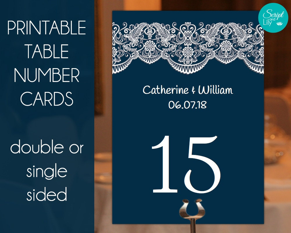 navy table number cards templates easy to edit and print. Black Bedroom Furniture Sets. Home Design Ideas