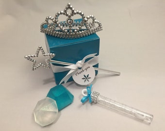 Frozen Party Favor: Tiara, Wand, Bubbles and Soap Favor Set, Princess Party Favor, Frozen Theme Favor