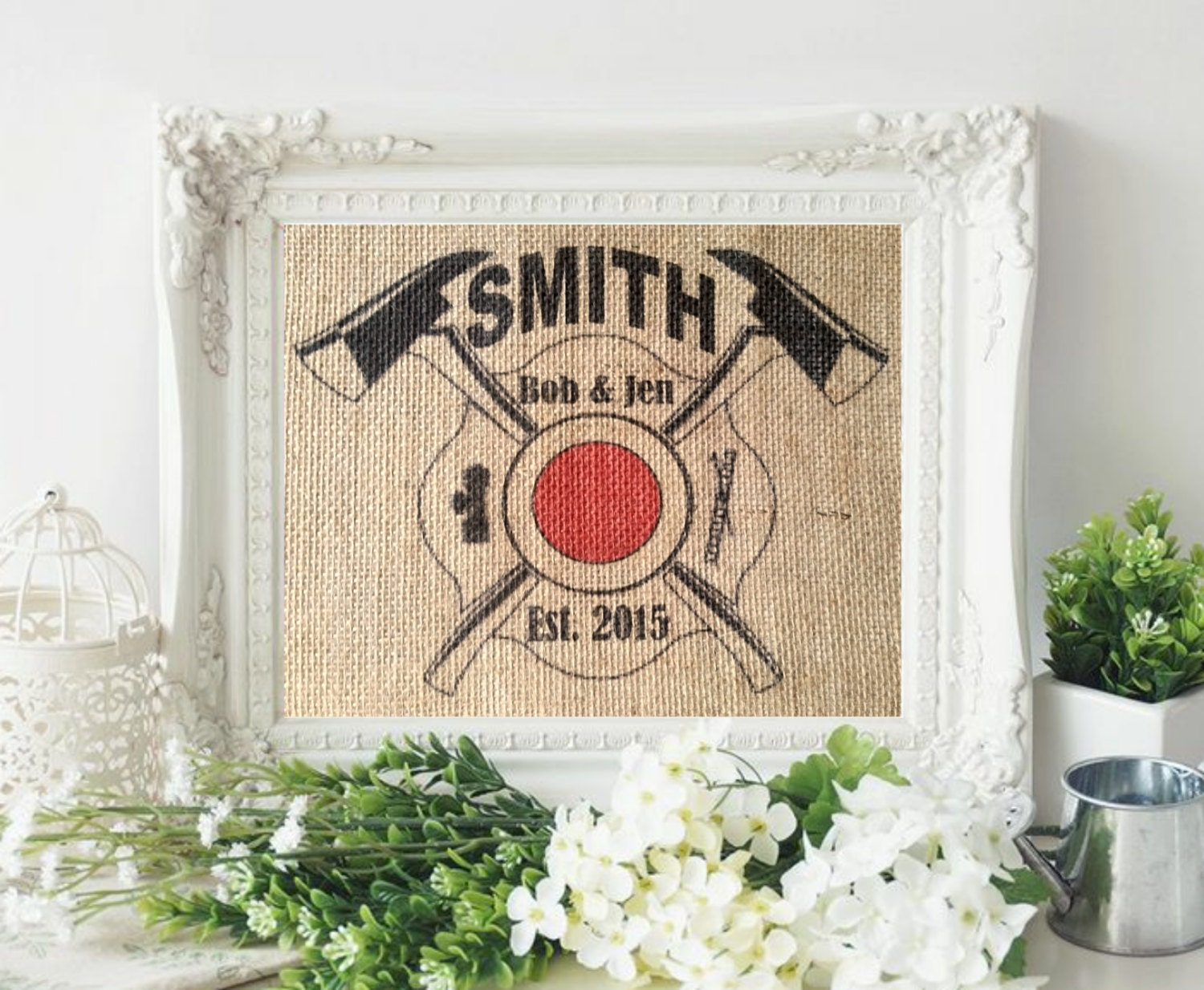 Best Man Cave Gifts : Personalized firefighter gift man cave wall by