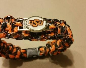 Oklahoma State University Paracord Bracelet with OSU Charm, OSU Cowboys, Orange Black White Paracord Bracelet