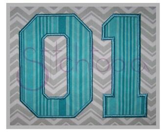 """Sports Applique Monogram Set - 2"""" 3"""" 4"""" - Letters & Numbers - Machine Embroidery Font Alphabet Varsity College Block Applique Font"""