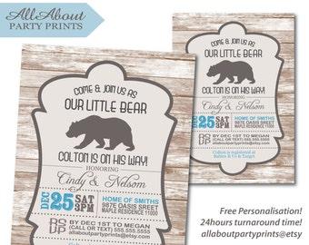 bear baby shower themed birthday invitation card printable -Turnaround time 24 hours!