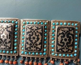 Uzbekisthan,Turkmanistan, Ethnic silver bracelet, turquois, corral and niello.