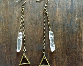 Bronze traingle and clear quartz dangly earrings