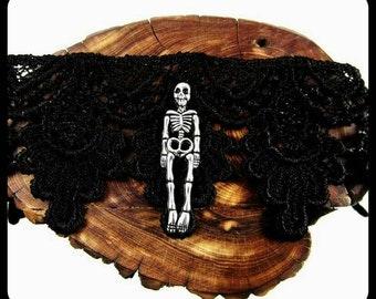 Halloween Skeleton Choker, Halloween Skeleton Necklace, Handmade Skeleton Jewelry, Black Lace Choker, Oddities, Gothic, Goth, LARP, Skull