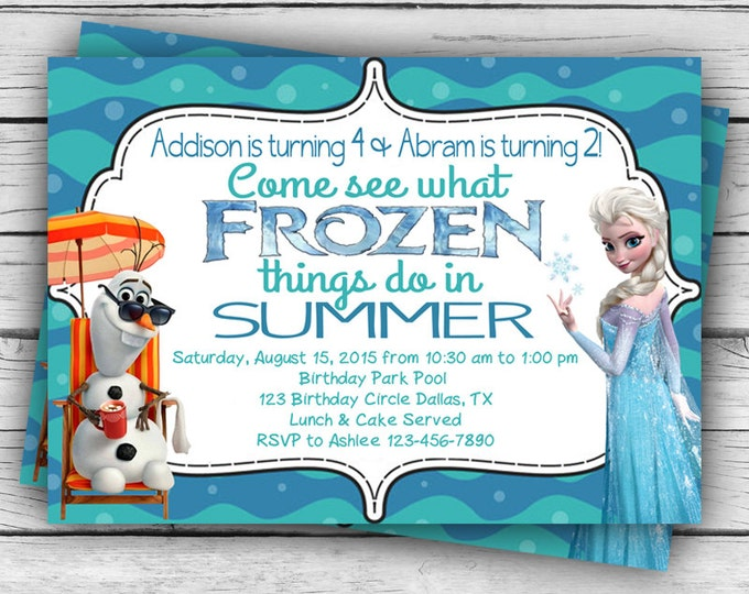 Personalized FROZEN in Summer OLAF & ELSA Birthday Invitation and Thank You Card, Frozen Birthday Invitation, Girl Birthday, Boy Birthday