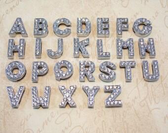 Full Rhinestone Slider Charms Individual Letters Wholesale 8mm DIY Wristband Bracelet Collar Name Bling Alphabet Slider Letter Beads Jewelry
