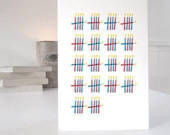 90th Birthday Card, card for 90th, 90 birthday card, birthday card for grandfather, 90 candles design, matching wrapping paper available