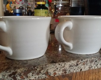 2 white Pfaltzgraff cups