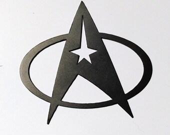 Star Trek logo, laser cut in steel