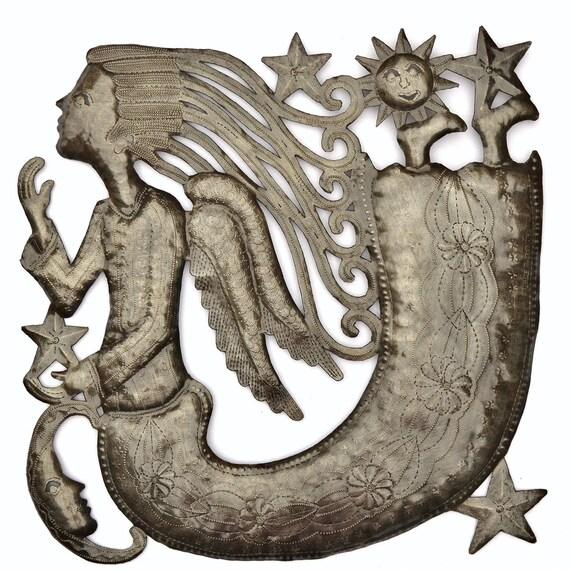 "Angel, Haiti Metal Wall Art, Fair Trade, Recycled Metal Wall Art, Steel wall Sculpture, 17"" x 17"""
