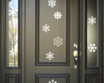 Snowflakes, Snow, Wall Decals, Set of 10, Christmas Decoration blizard