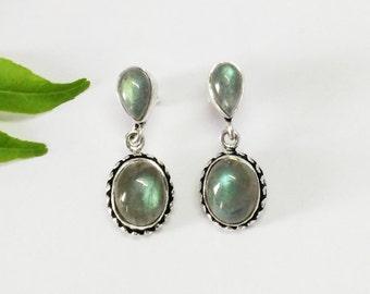 Gorgeous NATURAL FIRE LABRADORITE Gemstone Earrings, Birthstone Earrings, 925 Sterling Silver Earrings, Handmade Earrings, Drop Earrings