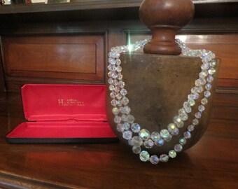 1950's classic 3 string 'aurora borealis' necklace
