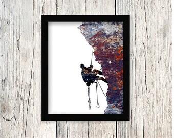 Rock Climbing, Mountain Climbing, Mountain Climber, Rock Climbing Wall Art, Mountaineering Poster, Climbing Poster, Climbing Print