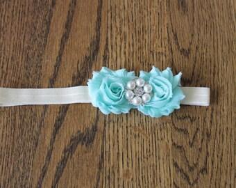 Mint Petite Flower Baby Headband