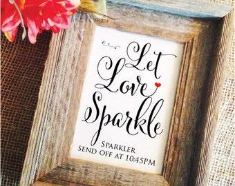 Let love sparkle sign Red Heart Sparkler Sendoff Time (Lovely) (Frame NOT included)