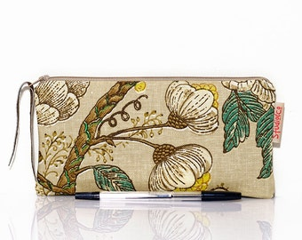 Floral zip pouch, Flower pencil case, Teacher gift, Lined pencil case, Classic pouch, Small bag, Gadget pouch, Make Up bag, Cosmetic case,